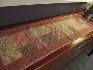 Handmade Quilted Table Runner Peach Pink Floral Squares 48 x 14