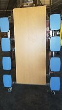 Refurbished 12' Cafeteria Folding Table Oak Top W/ 16 Bl Stool Bench- Elementary