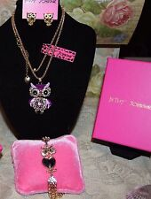 3 PC BETSEY JOHNSON GORGEOUS CRYSTAL OWL NECKLACE EARRINGS & 3PC WRAP BRACELET