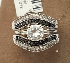 Diamond Ring Guard Wrap Double Row 14k Gold Over Solitaire Enhancer Black Round
