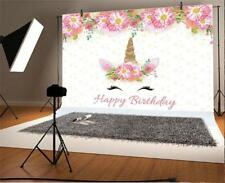 Birthday Unicorn Flower 5x3ft Party Background Photography Props Vinyl Backdrops