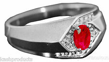 Mens Genuine Diamond & Ruby Ring Sterling Silver or Gold Plated Silver