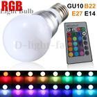 3W E27/E14 RGB LED Color Changing Lamp Globe Light Bulb + Remote Control 85-265V
