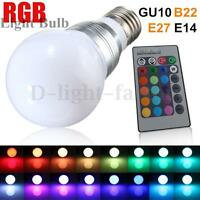 3W E27/E14 RGB LED Color Changing Lamp Globe Light Bulb + Remote Control 85-265V