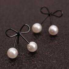 1 Pair Fashion Jewelry Women Faux Pearl Black Bow Knot Ear Stud Earrings Gift