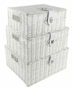 SET OF 3 Storage Baskets Resin Wicker Woven Hamper Box Lid& Lock Stackable White