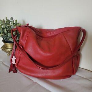 Radley Real Leather Tote Hobo Slouch Shoulder Bag Red