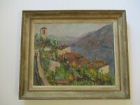 VINTAGE ANTIQUE IMPRESSIONIST OIL PAINTING SIGNED MYSTERY ITALY LAGO MAGGIORE