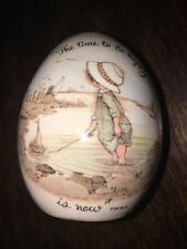 1973 Vintage Holly Hobbie The Time to be Happy Is Now! Inspirational Art Egg