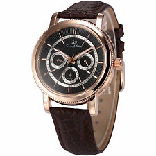 KS Luxury Men's Black Dial Automatic Mechanical Day Date Leather Wrist Watch