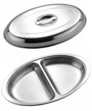 Sunnex catering stainless steel 58cm oval veg vegetable serving pan dish INC LID