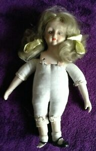 Doll with China Head,and Hands, Blonde Hair, cloth body, needs TLC