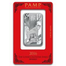 Lingot Suisse PAMP 1 Once Singe argent pur / 1 Oz MONKEY 2016 Fine Silver Bar