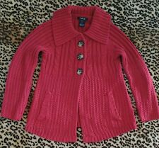 Style & Co Womens Petite Size S Red Acrylic Cable Knit Cardigan With Pockets