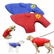 Pet Dog Vest Jacket Warm Waterproof Clothes Winter Padded Coat XS-4XL Red/Blue