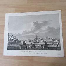 Sicht des Hafen Malta Gravur 18ème Jahrhundert