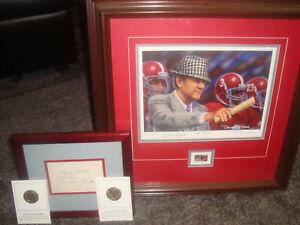 "Framed Alabama Print: ""Bear Bryant"" AP by Daniel Moore + Coach Bryant Autograph!"