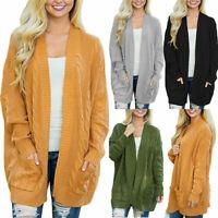 Womens Long Sleeve Knitted Cardigan Sweater Outwear Pocket Coat Jacket Jumpers