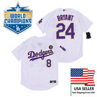 Kobe Bryant Los Angles Dodgers Jersey #8 In Front & #24 In Back KB Patch Purple