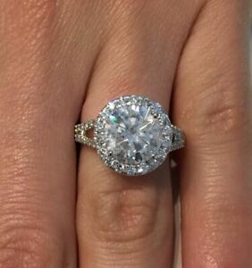 4.00 Carat D VS2 Round Cut Diamond Halo Engagement Ring 14K White Gold Certified