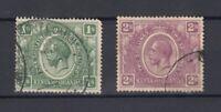 Kenya Uganda & Tanganyika KGV 1922 1/- 2/- SG87/88 Fine Used JK948