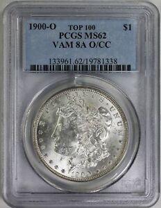 "1900 O/CC  MORGAN DOLLAR PCGS MS 62 VAM 8b CLASHED ""N ST"" TOP 100"