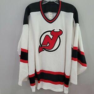 Vintage 90s CCM NHL New Jersey Devils White Hockey Jersey Men XL Sewn
