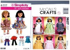 """McCalls Simplicity OOP PATTERNS 3627 & 3936 Doll Clothes Fits 18"""" American Girl"""