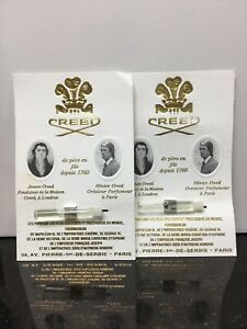 Creed Silver Mountain Water Men Sample vial 0.08oz/ 2.5ml Edt Lot Of 2 New