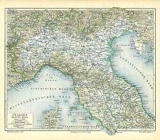 Vecchia Carta geografica 1895: Italia metà settentrionale. Corsica Toscana Umbria (m5)