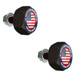 2 Black Hex Billet Frame Tag Bolts for Harley - GLOSS US 1 GREAT NATION BH234