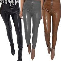 Women Sexy Shiny Latex Leather Pants Tight PU Zipper Leggings Pants Trousers Hot