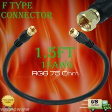 Black 1.5ft RG6 (18AWG) 75Ohm, Quad Shield, CL2 Coaxial Cable with F Type Connec
