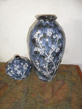 2 Vintage Unmarked High Quality Beautiful Blue & White Decorated Asian Vases