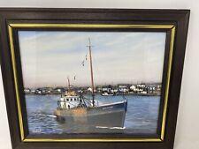 Painting Herbert Weintraub Acrylic on board. Nautical Boat Starfish New York Vtg
