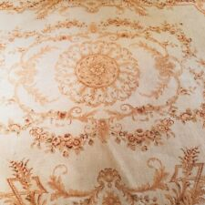 Antique Handmade Aubusson Rug Wool 8' x 10' Golden Elegance Fringed Flat Woven