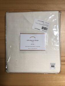 Pottery Barn Silk Dupioni Rod Pocket Curtain Drape Panel 50x96 Ivory NIP $179