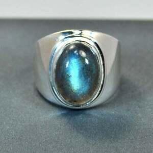 Natural Labradorite Gemstone with 925 Sterling Silver Ring for Men's EG1038
