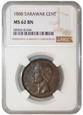 NGC MS 62 BN 1888 SARAWAK Charles J. Brooke. v One Cent, Copper Coin