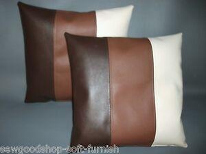 """2 Brown Tan & Cream Stripe Faux Leather Cushion Covers 16"""" 18"""" 20""""  Pillows"""