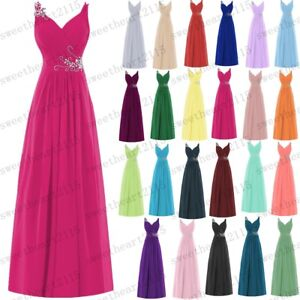 Long Chiffon Wedding Evening Formal Party Dresses Ball Gown Prom Bridesmaid 6-28