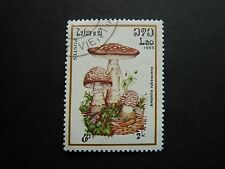 LAOS 2k Mushroom/Toadstool stamp used THEMATICS fungi (Amanita rubescens)