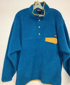 MENS PATAGONIA SYCHILLA FLEECE SNAP T RETRO TEAL BLUE SZ LARGE PULLOVER TOP