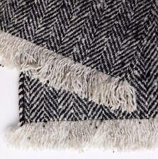 Warm woolly winter scarf black and white tweed fringed wool herringbone vintage