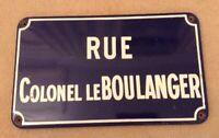 VINTAGE FRENCH ENAMEL STREET SIGN RUE COLONEL LE BOULANGER PLAQUE METAL HEAVY