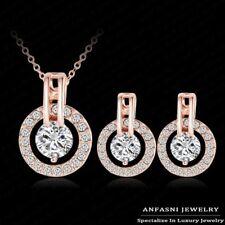 18K réel or rose rempli collier boucles d'oreilles set fait avec cristaux de swarovski