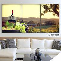 Glass Grapes Wine Vineyard 3 piece HD Art Poster Wall Home Decor Canvas Print