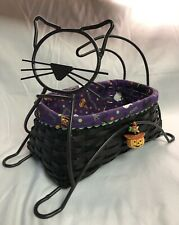 Longaberger 2009 Wrought Iron Black Cat Halloween Basket Set, Liner & Protector