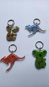 4 Australia Souvenir Aboriginal Design Kangaroo Koala Key Ring New Great Gift