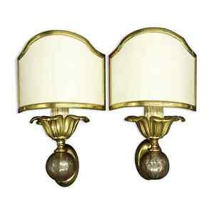 PAIR OF SCONCES, JANSEN ADNET CHARLES STYLE - BRONZE & STEEL - FRENCH ANTIQUE